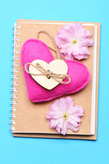 Notebook with eco design with bright pink handmade heart