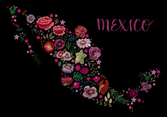 Map of Mexico. Traditional folk stylish stylish floral embroidery on the black background. Sketch for printing on clothing, fabric, bag, accessories and design. vector