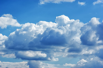 Deep blue sky and clouds at sunny day