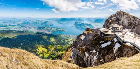 Panorama, Pilatus Kulm, Gipfel über dem Vierwaldstättersee, Schweiz, Europa