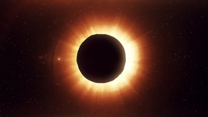 A beautiful solar eclipse, a realistic illustration