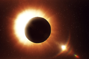 Solar eclipse in space, photorealistic illustration