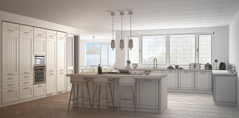 Unfinished project of modern scandinavia kitchen with big panoramic window, sketch abstract interior design