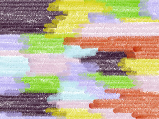 Colorful hand drawn abstract paper chalk texture background, illustration of geometric lines painted by chalk in violet, red and yellow pastel colors, high quality
