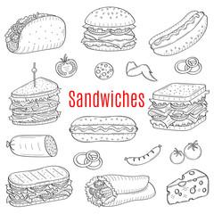 Sandwich set, vector sketch illustration