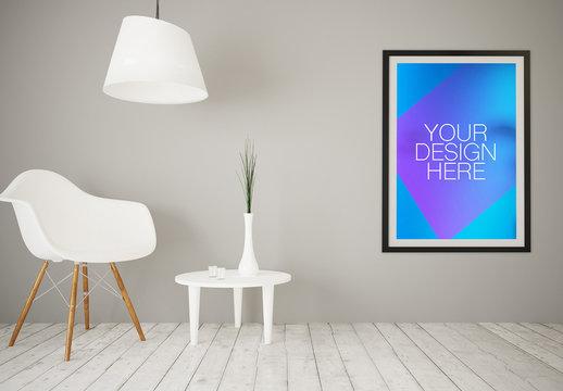 2-in-1 Vinyl Sticker/Framed Poster in Living Room Mockup 1
