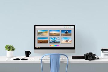 Bildbearbeitung - Monitor und Equipment am Arbeitsplatz