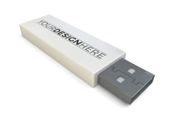 USB Drive Isolated on White Mockup