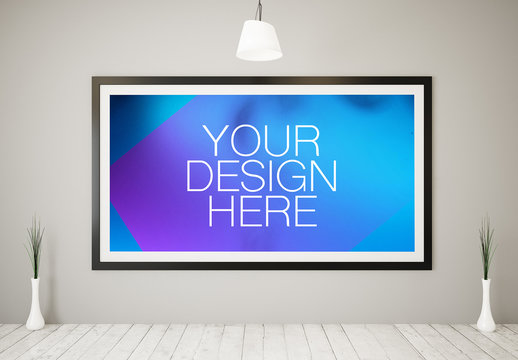 Large Framed Poster in White Room Mockup 1