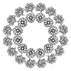 circular frame deoration floral vector illustration design