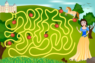 Maze game for children - The Princess is looking for the Prince's castle