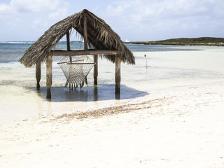Paradise beach in Cayo Santa Maria, Cuba. View of a perfect desert coast with white sand and blue turquoise sea.