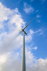 Wind turbine farm with blue sky, wind mill view, Green energy, Nature energy, Alternative power