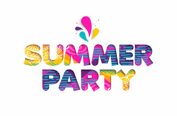 Summer party cutout color quote for fun holiday