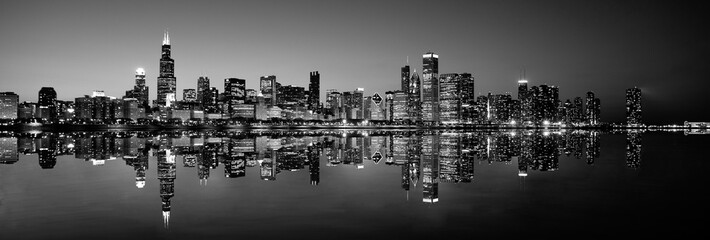 Panoramic Chicago skyline at night in black and white