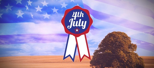 Composite image of close up of badge with 4th july text
