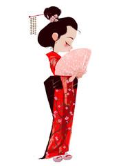 Cute Girl in Geisha dress
