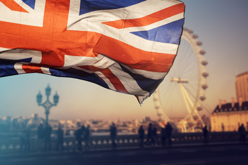 UK flag and London Eye