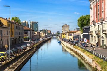 Fotobehang Kanaal Milano, Navigli, Italy