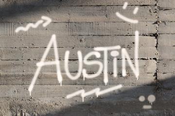 Austin Word Graffiti Painted on Wall