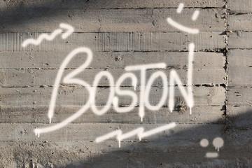 Boston Word Graffiti Painted on Wall