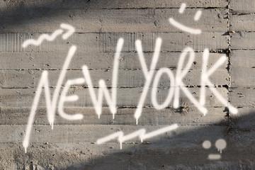 New York Word Graffiti Painted on Wall