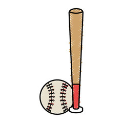 baseball bat and ball equipment isolated icon vector illustration design