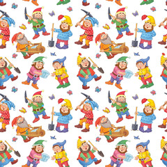 Snow White and the seven dwarfs. Seamless pattern. Illustration for children. Cute and funny cartoon characters