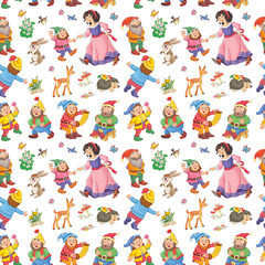 Fairy tale. Snow White and the seven dwarfs. Seamless pattern. Illustration for children. Cute and funny cartoon characters