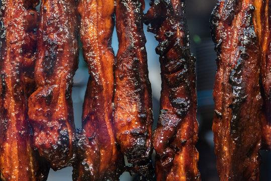 Closeup on Chinese roast pork
