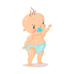 Cute cartoon baby in a diaper with pacifier, colorful character vector Illustration