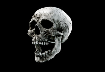 Human Scary Skull Locally Deformed in Rich colors in to the White or Dark Background. Concept of death, horror. Spooky halloween symbol. Illustration of 3D rendering.