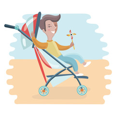 Baby greetings card with blue stroller
