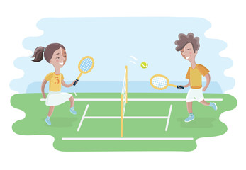 Two kids play tennis on court. Girls and boy