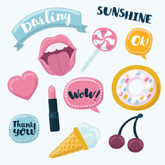 Fashion patch badges with lips, hearts, speech bubbles, stars and other elements. Vector illustration isolated on white background. Set of stickers, pins, patches in cartoon 80s-90s comic style.