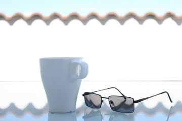 Coffee Mug Outdoors with Modern Glasses