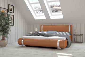 Minimalist idea of white modern bedroom. Scandinavian interior design. 3D illustration