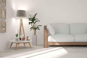 White concept of room with sofa and lamp. Scandinavian interior design. 3D illustration