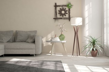 White room with sofa and lamp. Scandinavian interior design. 3D illustration