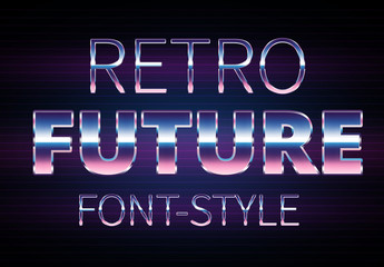 Retro Sci-fi Chrome Text Style Set 2