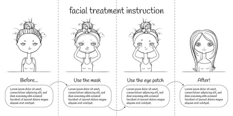 Cute Facial treatment monochrome 4th steps instruction, girl and panda