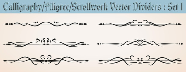 Calligraphy/Filigree/ Scrollwork Vector Dividers: Set 1
