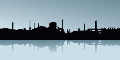 Silhouette of industrial buildings.