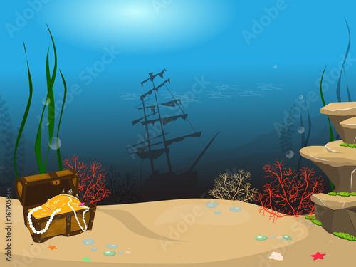 underwater world background underwater landscape with sunken ship