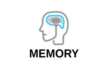 Memory Human Brain Logo Design Illustration
