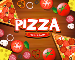 Pizza menu wooden board cartoon background with fresh ingredients isolated vector vector illustration
