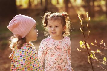 Two little girls on a walk