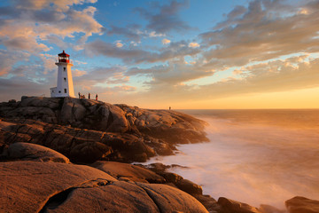 Recess Fitting Canada Light House at Peggy Cove at Sunset, Nova Scotia, Canada