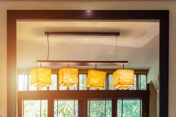 Interior details. Four paper chandelier in luxury villa