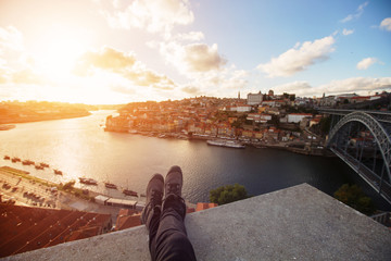 Tourist traveler Foot on bridge river view background